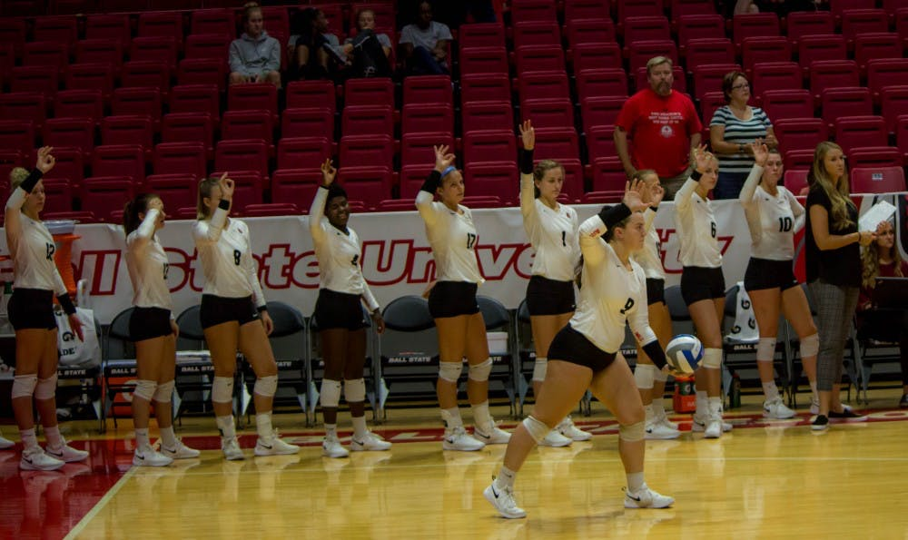 <p>The Ball State Women's Volleyball team signals for match point Tuesday, Sept. 11, 2018, at Worthen Arena. The team won the match, 3-0. <strong>Alex Straw,DN</strong></p>