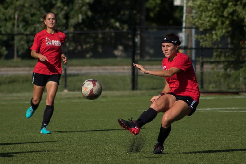 The Ball State Soccer team practices Wednesday Sept. 5, 2018, at Briner Sports Complex. Eric Pritchett, DN