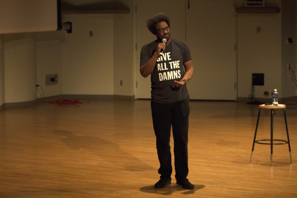 Comedian W. Kamau Bell came to John J. Pruis Hall on Feb. 6 for Ball State's Excellence in Leadership speaker series. Bell, the host of CNN's The United Shades of America, spoke about the impact of racism on American culture. Grace Ramey // DN