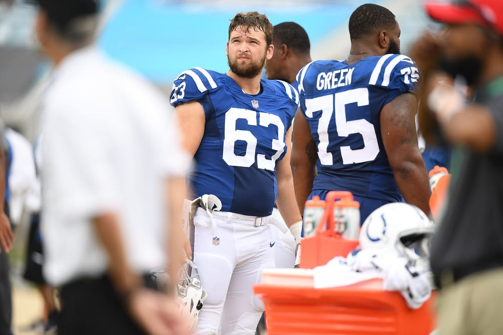 <p>Former Ball State offensive lineman, now Indianapolis Colts guard, Danny Pinter looks up during the Colts' first game of the 2020 NFL season against the Jacksonville Jaguars Sept. 13, 2020, at Lucas Oil Stadium in Indianapolis. Pinter was selected in the fifth round of the 2020 NFL Draft by the Colts and made the team's 53-man roster. <strong>Indianapolis Colts, Photo Provided</strong></p>