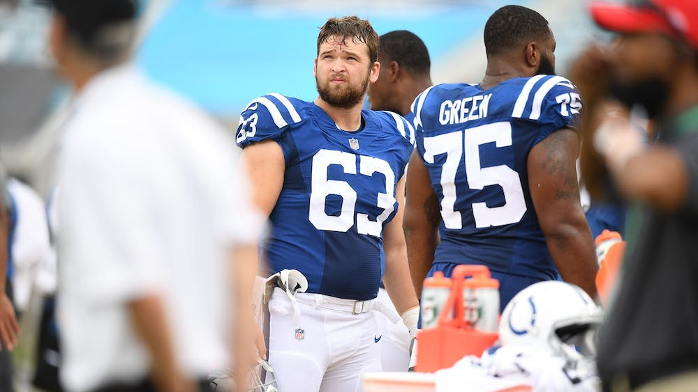 Former Ball State offensive lineman, now Indianapolis Colts guard, Danny Pinter looks up during the Colts' first game of the 2020 NFL season against the Jacksonville Jaguars Sept. 13, 2020, at Lucas Oil Stadium in Indianapolis. Pinter was selected in the fifth round of the 2020 NFL Draft by the Colts and made the team's 53-man roster. Indianapolis Colts, Photo Provided