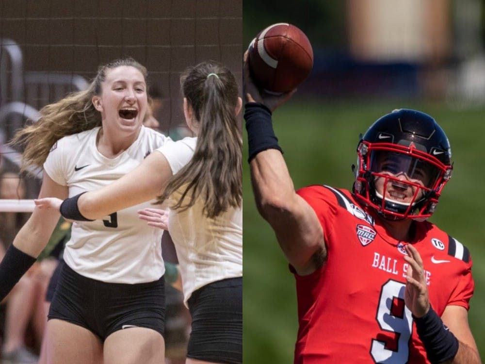 Marie Plitt is in in first year as a middle blocker for Ball State Women's Volleyball, while Drew Plitt is in the middle of his fourth season with Ball State Football as a redshirt quarterback. Left photo courtesy of Ball State Athletics. Right photo by Jacob Musselman, DN