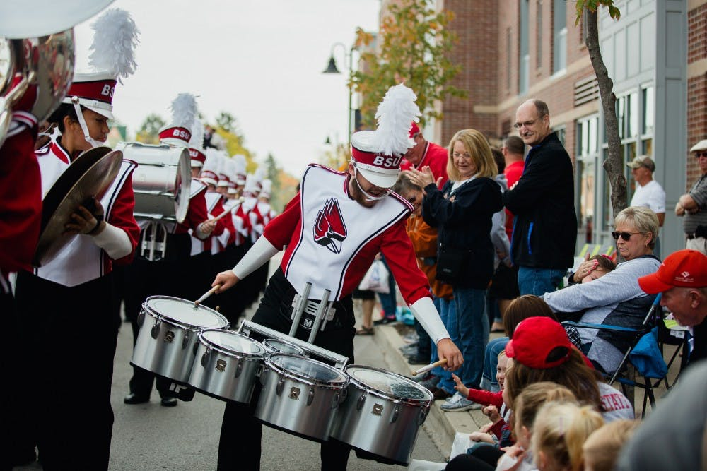 The annual Homecoming Parade traveled from Muncie Central High School through campus on Oct. 21 to start off the day's Homecoming festivities. The Pride of Mid-America Marching Band, which is nearly 60 years old, played in the parade.  Reagan Allen, DN