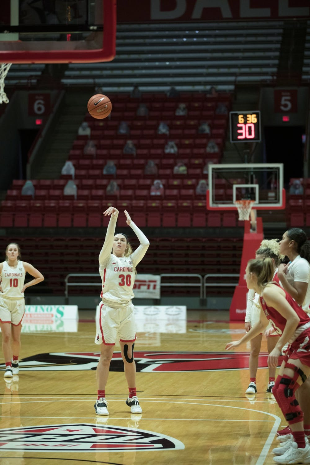 <p>Cardinals redshirt sophomore guard Anna Clephane shoots a free throw during a game against the Miami University Redhawks Jan. 27, 2021, at John E. Worthen Arena. The Cardinals took the win 85-82. <strong>Grace Walton, DN</strong></p>
