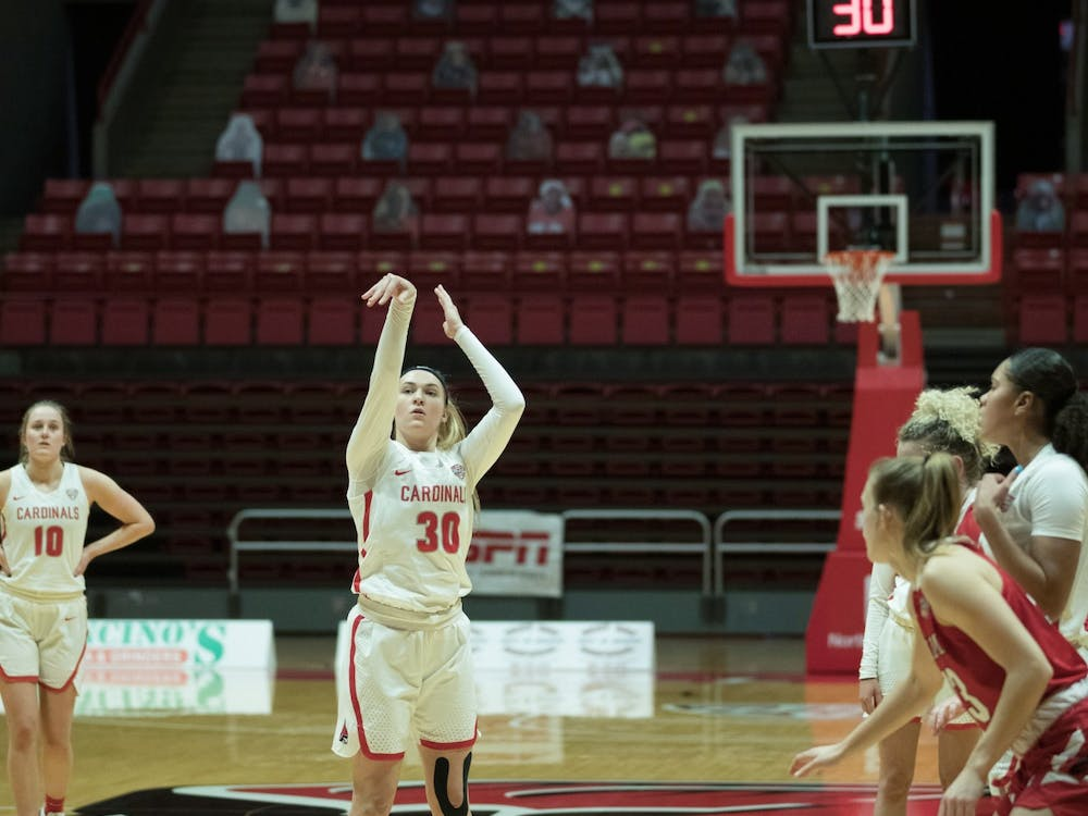 Cardinals redshirt sophomore guard Anna Clephane shoots a free throw during a game against the Miami University Redhawks Jan. 27, 2021, at John E. Worthen Arena. The Cardinals took the win 85-82. Grace Walton, DN