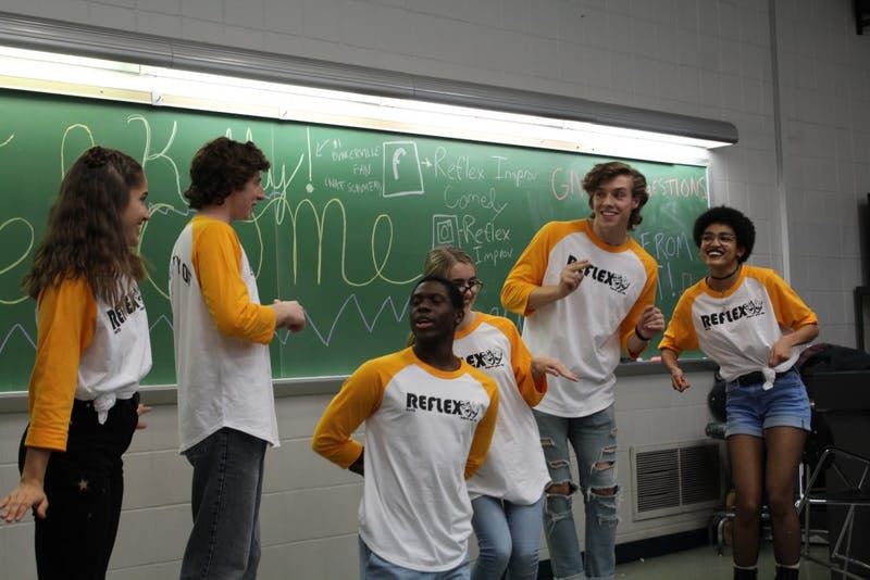 Members of Reflex Improv perform skits on campus Sept. 22, 2018. This year the group has tried to be more structured, even though they focus on improvisation. Photo provided, Tara Heilwagen