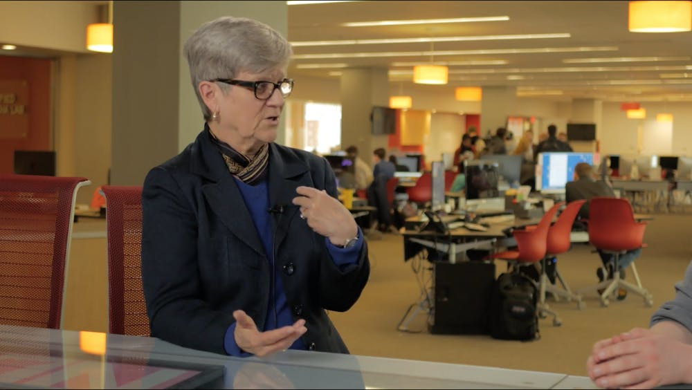 <p>Kathleen Hall Jamieson answers questions from Daily News and Byte in a special joint interview. She spoke on campus on March 27th. <strong>Jake Helmen, DN</strong></p>