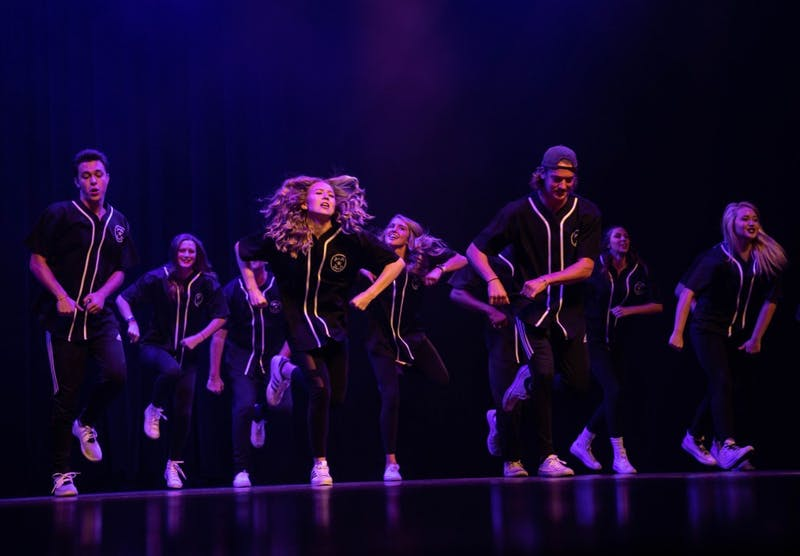Alpha Phi and Sigma Chi perform in Air Jam Oct. 18, 2018 in Emens Auditorium. The two organizations competed in the Greek life category. Tailiyah Johnson, DN
