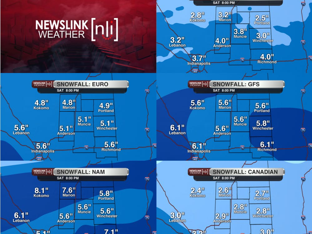 A comparison of different model generated snowfall totals for this weekend's storm.