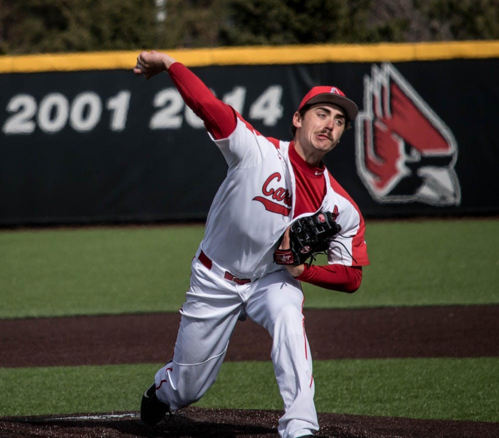 <p>Then-sophomore John Baker pitches during the game against Dayton March 16, 2018, in Muncie. Baker pitched eight innings before Drey Jameson took over. <strong>Rebecca Slezak, DN</strong></p>