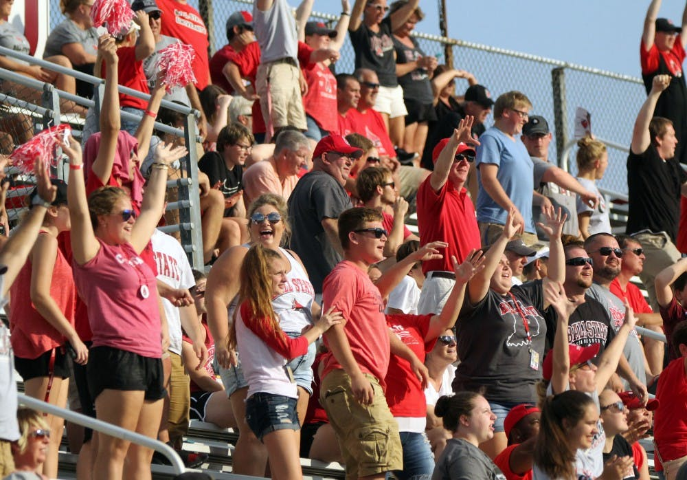 Ball State fans yell for T-shirts in the fourth quarter during the Cardinals' game against Tennessee Tech on Sept. 16 at Scheumann Stadium. Ball State won 28-13 on family weekend. Paige Grider, DN
