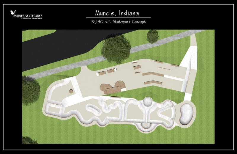 The design concept for the new skatepark in Westside Park. A kidney bowl will be an element of the new park. Christy Weezer // Photo Provided