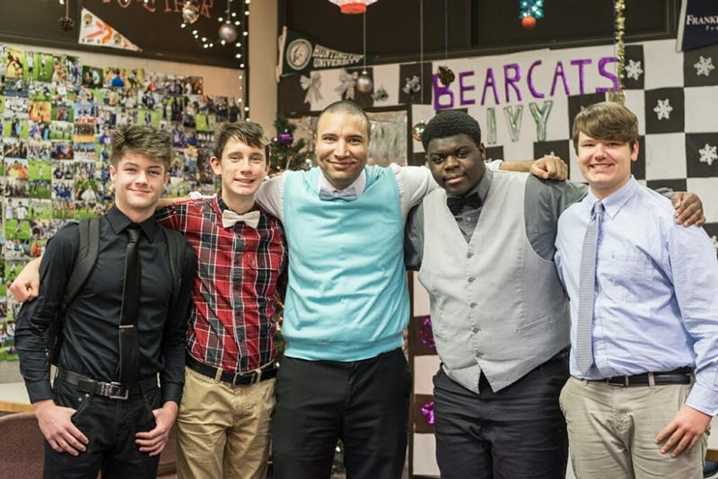 MCHS students participate in the 2018 Dressember event along with Khalid Reichard, early college coordinatory (center). Sam Voss (second from left) said Reichard was his biggest supporter on campus and sponsored Dressember in every way. Sam Voss, Photo Provided