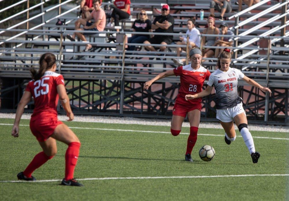 <p>Sophomore Midfielder Tatiana Mason brings the ball into Illinois State University's zone, Thursday, Aug. 28, 2019 at Briner Sports Complex. &nbsp;Ball State Woman's soccer team defeated lllinois State University 1-0. <strong>Rebecca Slezak,DN</strong></p>