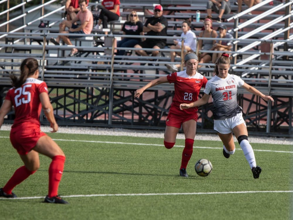 Sophomore Midfielder Tatiana Mason brings the ball into Illinois State University's zone, Thursday, Aug. 28, 2019 at Briner Sports Complex.  Ball State Woman's soccer team defeated lllinois State University 1-0. Rebecca Slezak,DN