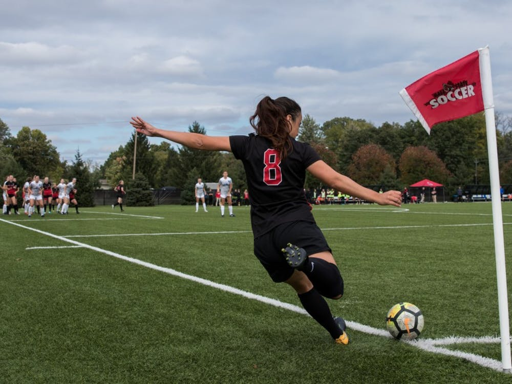 Midfielder Paula Guerrero sends the ball to her Ball State teammates with a corner kick in their game against the University at Buffalo Oct. 14,2018, at Briner Sports Complex. The Cardinals defeated the Bulls 1-0 which put them 5-2-1 in the MAC. Eric Pritchett, DN