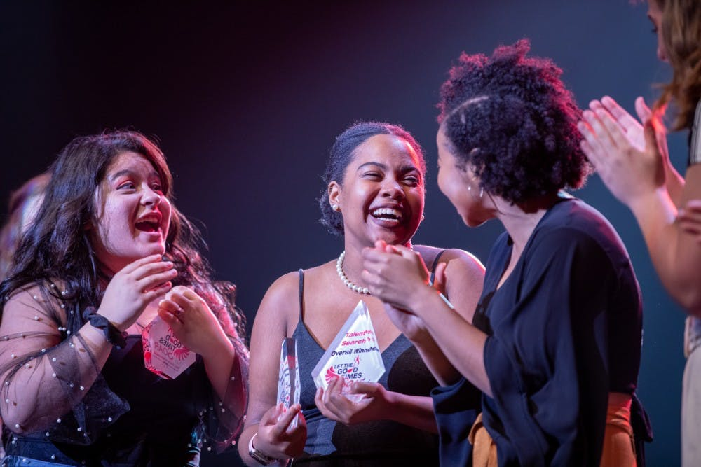 "2019 Homecoming Talent Search winner Eliah Johnson reacts on receiving her award Oct. 15, 2019 at Emens Auditorium.  Johnson sang ""Colorblind"" by Amber Riley. Jacob Musselman, DN"