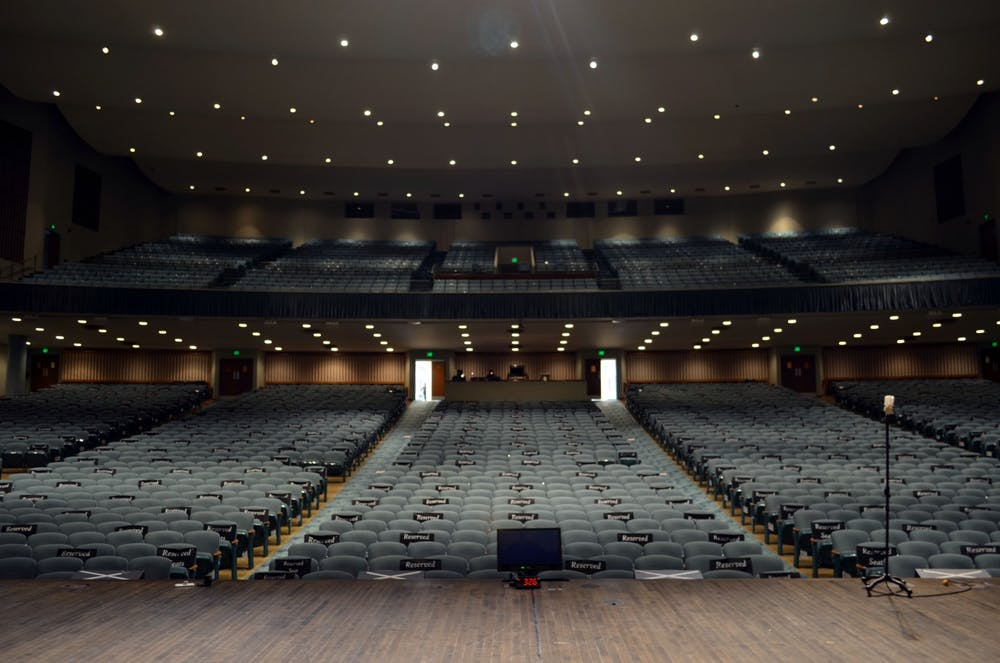 <p>The Emens Auditorium staff originally planned to welcome more than 15 stage shows during the 2020-21 season. Due to COVID-19 restrictions, it is hosting free interactive online events for students and community members. <strong>Kristi Chambers, Photo Provided</strong></p>