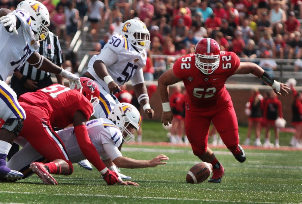 Quarter Back Andre Sale fumbles the ball against Ball State on Saturday, Sept. 16 at Schumann Stadium. Sale had a total of 239 passing yards, final score 28-13 Ball State wins. Grace Hollars, DN File