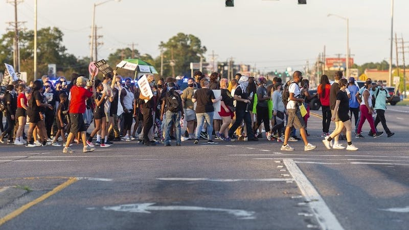 Main image: Protesters march Sunday, Aug. 23, 2020, in Lafayette, La. Trayford Pellerin was fatally shot by police Friday night in Lafayette. Police have said Pellerin was carrying a knife and was shot when he tried to enter one convenience store in Lafayette after causing a disturbance at another. (Scott Clause/The Daily Advertiser via AP)