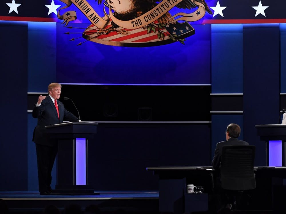 Republican presidential candidate Donald Trump, left, and Democratic presidential candidate Hillary Clinton participate in the third and final presidential debate at the University of Nevada Las Vegas on Wednesday, Oct. 19, 2016, in Las Vegas. (Yin Bogu/Xinhua/Sipa USA/TNS)