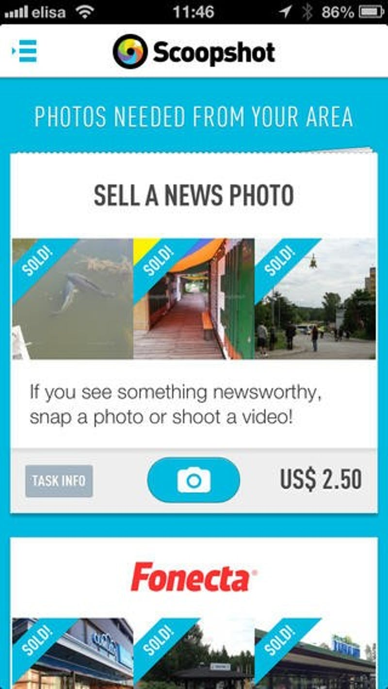 Scoopshot offers freelance photography for regular smartphone users