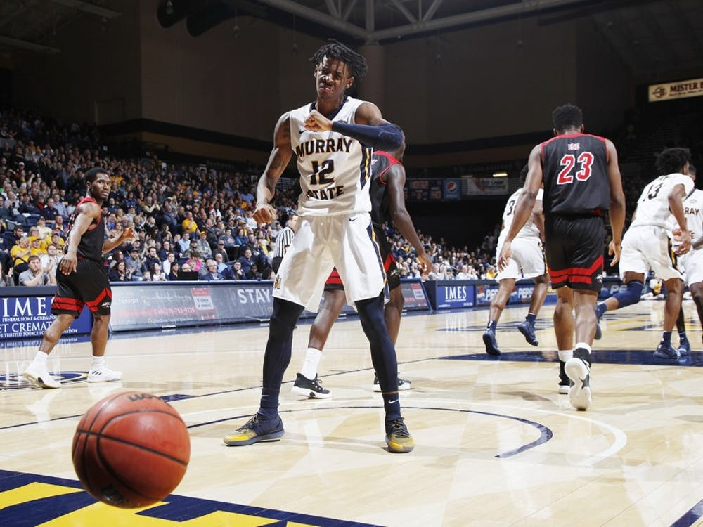 Ja Morant (12) of the Murray State Racers reacts after tipping in a shot in the second half against the SIU-Edwardsville Cougars at CFSB Center on February 9, 2019 in Murray, Ky. Murray State won 86-55. (Joe Robbins/Getty Images/TNS)