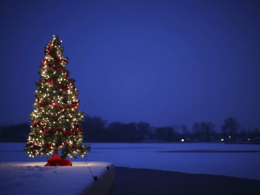 A Christmas tree sits on a dock in the snow at White Bear Lake in Minnesota on Monday, Nov. 30, 2015. (Jeff Wheeler/Minneapolis Star Tribune/TNS)