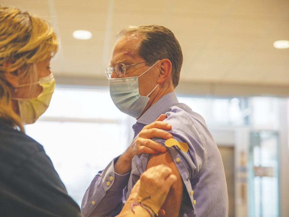 Ball State President Geoffrey Mearns gets his first dose of the Pfizer-BioNTech vaccine March 11, 2021, at IU Ball Memorial Hospital. In an April 1 email, Mearns encouraged members of the student body to receive vaccines now that they are eligible. Jaden Whiteman, DN File