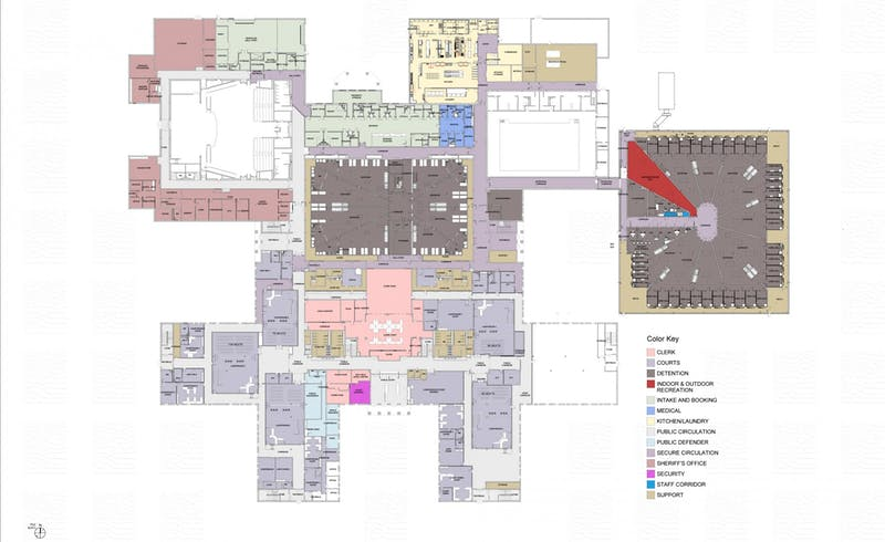 This image shows the overall plan for the first floor of the new Delaware County Justice Center. Delaware County will spend $45 million to renovate the former Wilson Middle School building into a new Justice Center. BW Construction, Design Provided