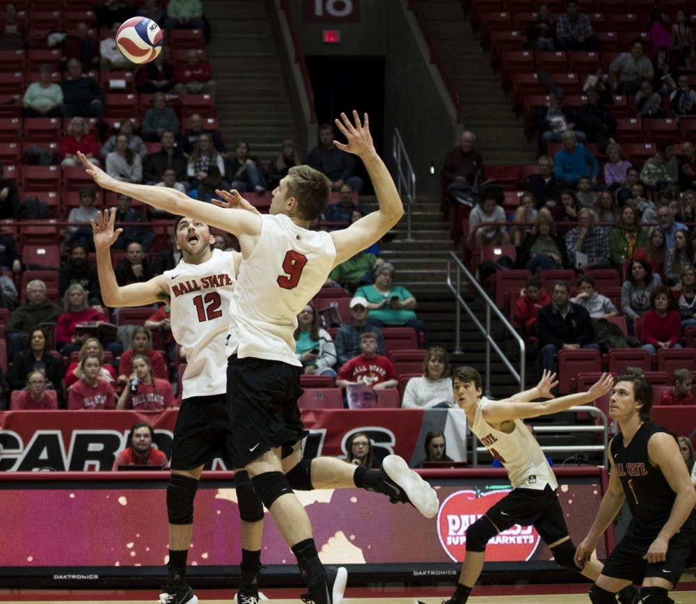 Ball State men's volleyball competed against Fort Wayne March 17 in John E. Worthen Arena. The Cardinals won 3-0.