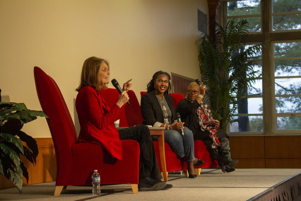 "WaTasha Barnes Griffin and Mia Johnson laugh along with the audience as Gloria Steinem answers questions about feminism, politics and intersectionality Dec. 2, 2019, in the L.A. Pittenger Student Center Ballroom. Steinem said she picked quotes for her new book ""The Truth Will Set You Free, But First It Will PIss You Off!"" based off the ones she found herself repeating. Demi Lawrence, DN"