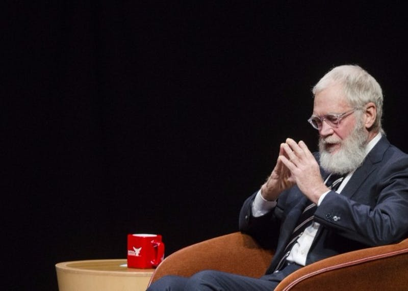 Alumnus David Letterman came to Ball State with filmmakers Spike Jonze and Bennett Miller on Nov. 30, 2015 at John R. Emens Auditorium. Recently, the famous talk show host has donated over 1,000 items of memorabilia to the university. Breanna Daugherty, DN File