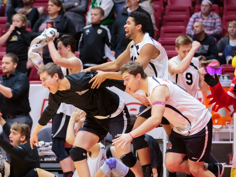 The Ball State Men's Volleyball team celebrates at the conclusion of the third and final set against Fort Wayne on Feb. 7 in Worthen Arena. The Cardinals won 3-0 against the Mastodons. Kyle Crawford // DN