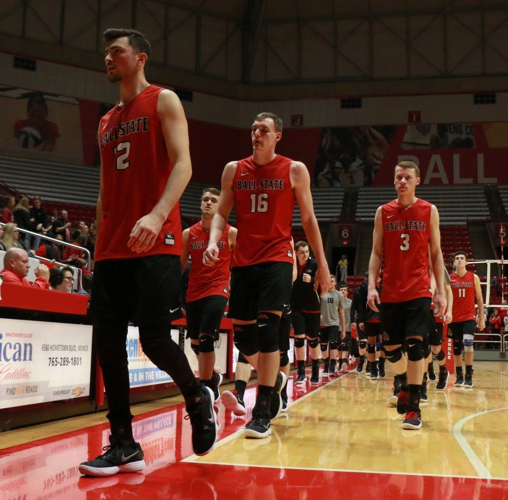 <p>&nbsp;Ball State men's volleyball team exits the court for a break after the first period during the game against Sacred Heart on Jan. 19. The Cardinals won 3-2. <strong>Carlee Ellison, DN</strong></p>