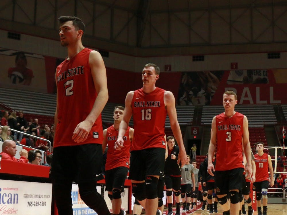 Ball State men's volleyball team exits the court for a break after the first period during the game against Sacred Heart on Jan. 19. The Cardinals won 3-2. Carlee Ellison, DN