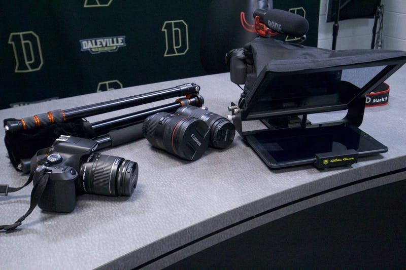 Daleville Junior/Senior High School's new camera equipment sits Nov. 23, 2020. The school received $5,000 from the Community Foundation's Technology Resilience Initiative, which it has put toward new media equipment for student programs. Melissa Crist, Photo Provided
