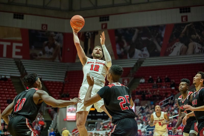 Redshirt junior Brachen Hazen goes up to the rim Feb. 11, 2020, at John E. Worthen Arena. Hazen scored seven points against the Huskies. Jacob Musselman, DN