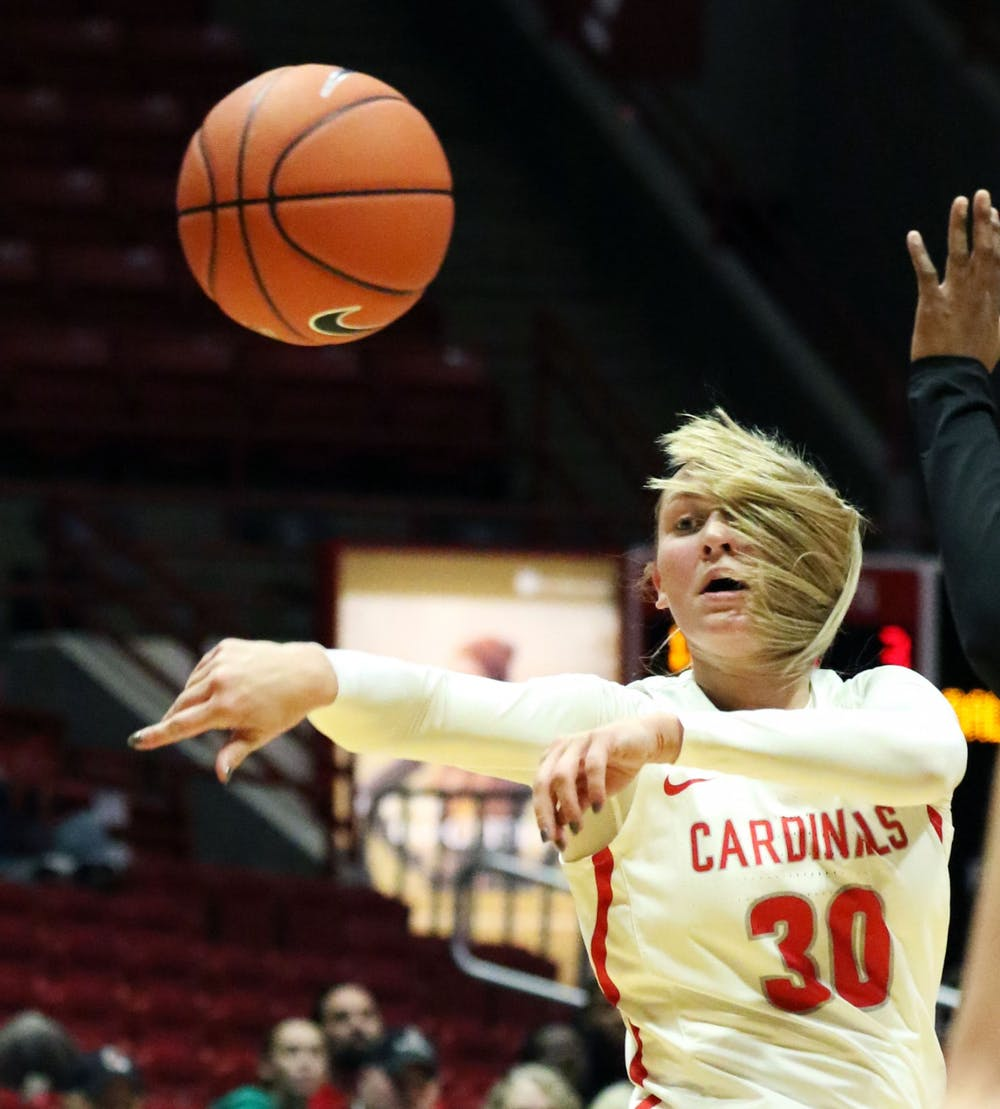 <p>Ball State redshirt freshman guard Anna Clephane passes the ball during the Cardinals' game against Butler Saturday, Nov. 23, 2019, at John E. Worthen Arena. Ball State won 74-70. <strong>Paige Grider, DN</strong></p>