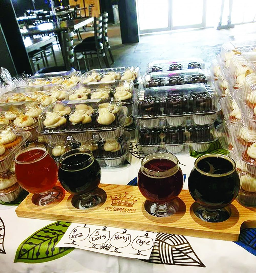 Laura Turvey, owner of Tipsy Turvey Pubcakes, often uses beer from The Gaurdian Brewing Co. in her cakes. When she does, she will set up a booth with glasses of the same beers she used in her cupcakes. Laura Turvey, photo provided.