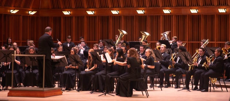 "The Muncie Central Wind Ensemble Performs ""Chester Overture for Band"" April 8, 2019, at Ball State's Sursa Hall . Mary Stempky, DN"