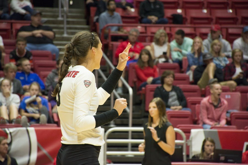 Junior Outside Hitter Brooklyn Goodsel signals to her team before a serve on Sept. 2 at Worthen Arena. Goodsel had 2 blocks and 8 kills on the night.