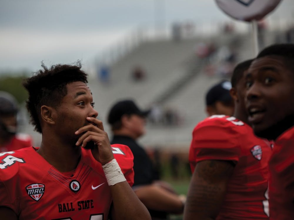 Cornerback Gerald Smith reacts to a hail mary thrown by Riley Neil in the last few minutes of the fourth quarter Sept. 22, at Scheumann Stadium that would have put the Cardinals one point behind Western Kentucky. The play was reviewed and called incomplete resulting in Ball State to be defeated 28 to 20. Eric Pritchett,DN