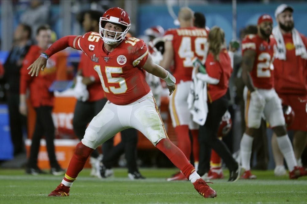 <p>Kansas City Chiefs' quarterback Patrick Mahomes celebrates his touchdown pass to Damien Williams in the the second half of the NFL Super Bowl 54 football game Sunday, Feb. 2, 2020, in Miami Gardens, Fla. <strong>(AP Photo/John Bazemore)</strong></p>
