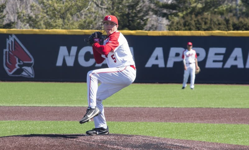 Ball State baseball player Drey Jameson goes to pitch the ball during the game against the University of Dayton on March 18 at the Baseball Diamond at First Merchant's Ballpark Complex. Ball State played Dayton four times this weekend, winning two games and losing two. Briana Hale, DN
