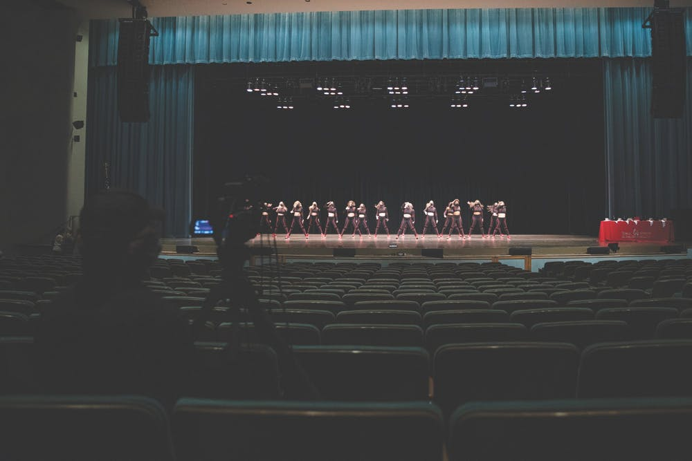 <p>Members of the Ball State Code Red Dance Team perform their routine to an almost-empty Emens Auditorium April 14, 2021. The recording of Air Jam was closed to the public, only allowing media members and participants. <strong>Jacob Musselman, DN</strong></p>