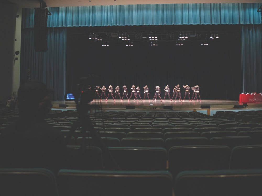 Members of the Ball State Code Red Dance Team perform their routine to an almost-empty Emens Auditorium April 14, 2021. The recording of Air Jam was closed to the public, only allowing media members and participants. Jacob Musselman, DN