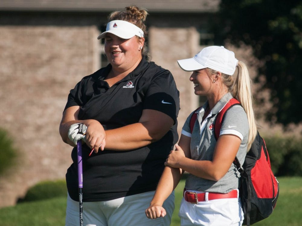 Junior Morgan Nadaline talks to the graduate assistant, Sophie Godley, on Sept. 20, 2016 at the Cardinal Classic. Kaiti Sullivan, DN File