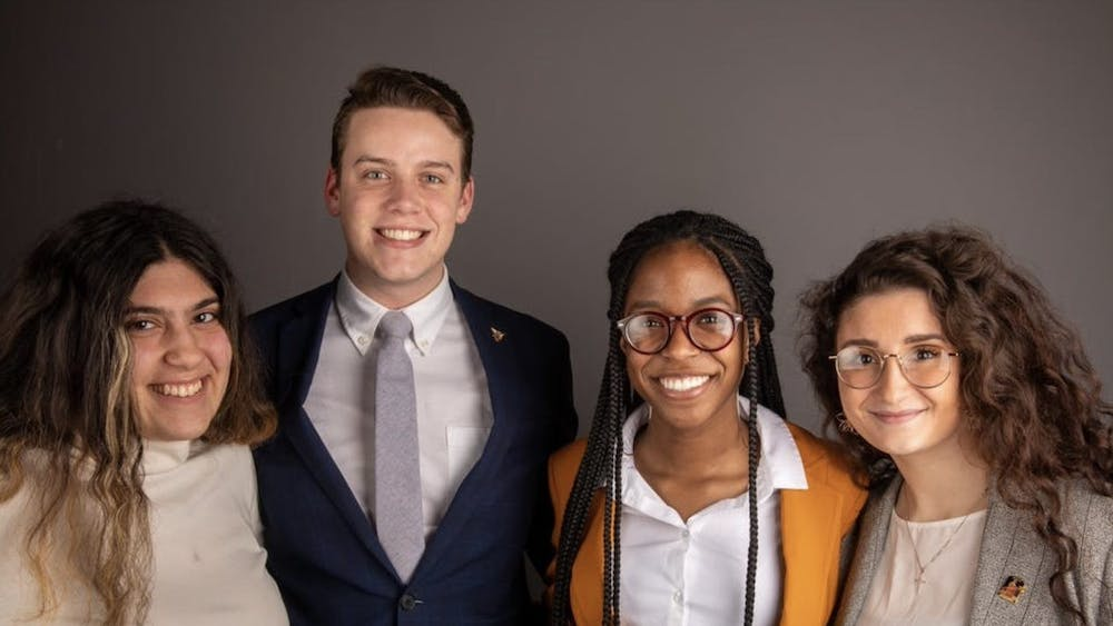 Bold executive slate members in February.Amanda Mustaklem, treasurer, Connor Sanburn, president, Jordyn Blythe, vice president and Gina Esposito, chief administrator. Sanburn said slate members have had to make flexible plans with Ball State faculty about their platform points. Jacob Musselman, DN