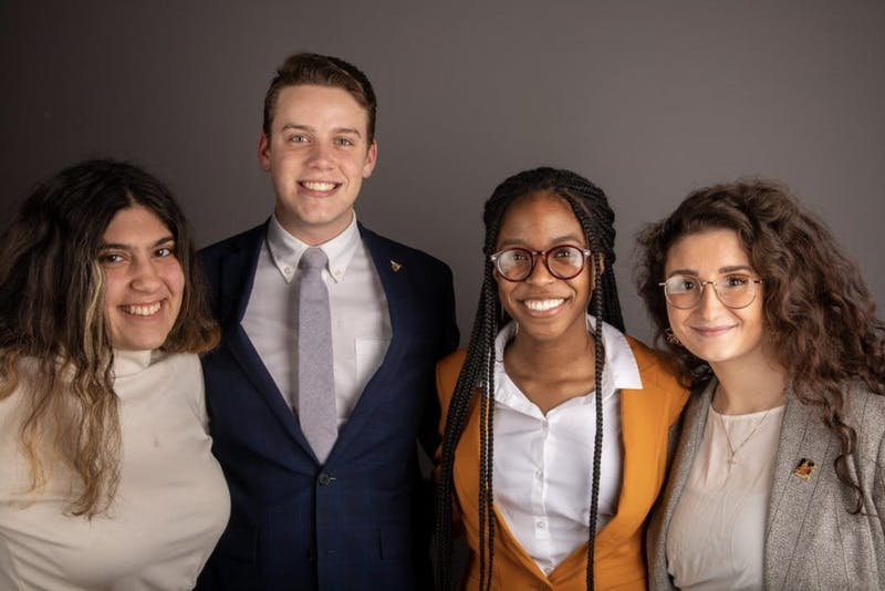 Bold executive slate members in February. Amanda Mustaklem, treasurer, Connor Sanburn, president, Jordyn Blythe, vice president and Gina Esposito, chief administrator. Sanburn said slate members have had to make flexible plans with Ball State faculty about their platform points. Jacob Musselman, DN